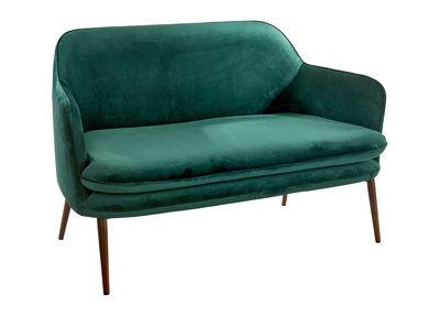 Arredamento - Divani moderni - Divano angolare destro Charmy / Velluto - L 128 cm - Pols Potten - Velluto verde - Acciaio laccato, Espanso, Velluto