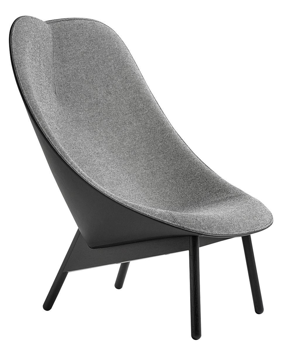 Möbel - Lounge Sessel - Uchiwa Gepolsterter Sessel / Rückenlehne Leder - Hay - Grau & schwarz / Fußgestell schwarz - getönte Eiche, Kvadrat-Gewebe, Leder, Schaumstoff
