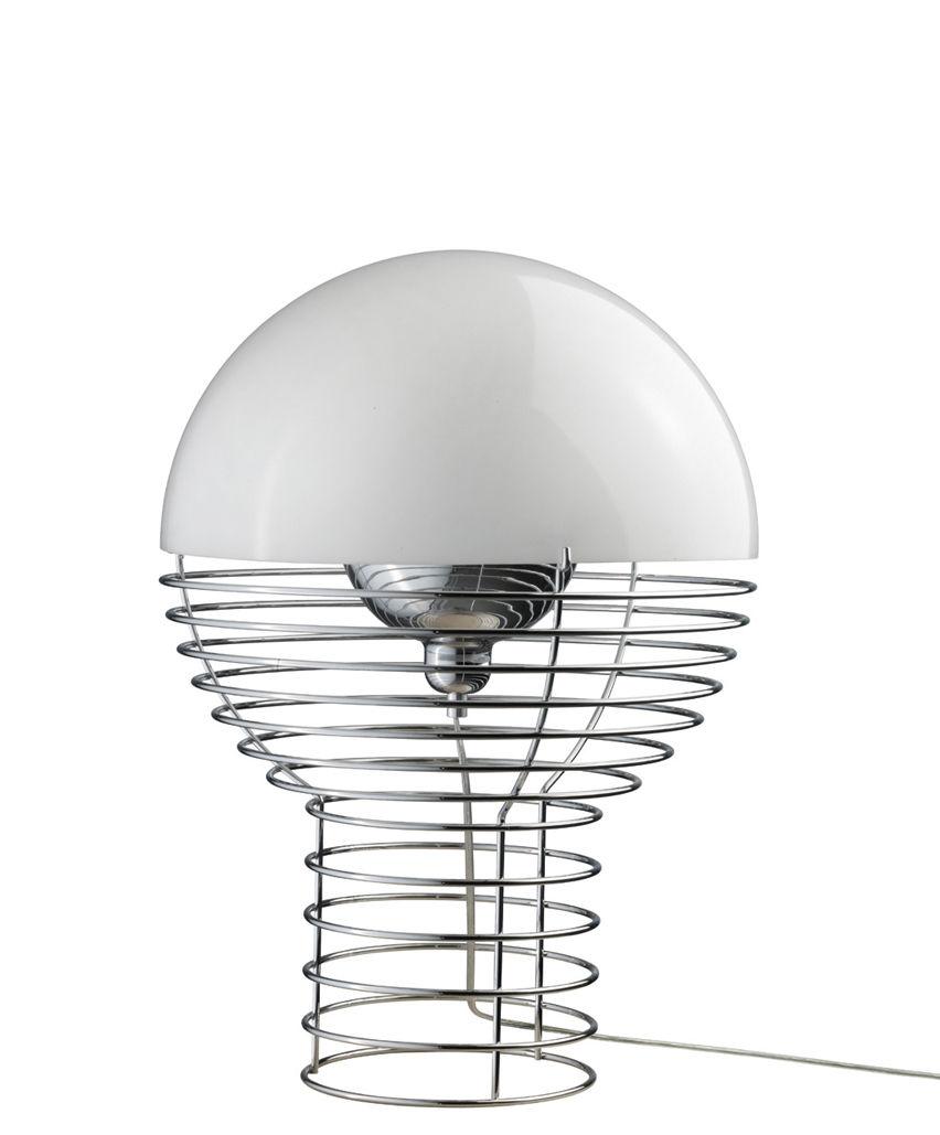 Illuminazione - Lampade da tavolo - Lampada da tavolo Wire Small - H 42 cm - Panton 1972 di Verpan - H 42 cm - Bianco - Metallo, policarbonato