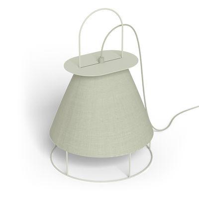 Illuminazione - Lampade da tavolo - Lampada nomade Claude - / da poggiare o da appendere - Tessuto & metallo di Hartô - Grigio Ghiaia - metallo laccato, Tessuto poliestere