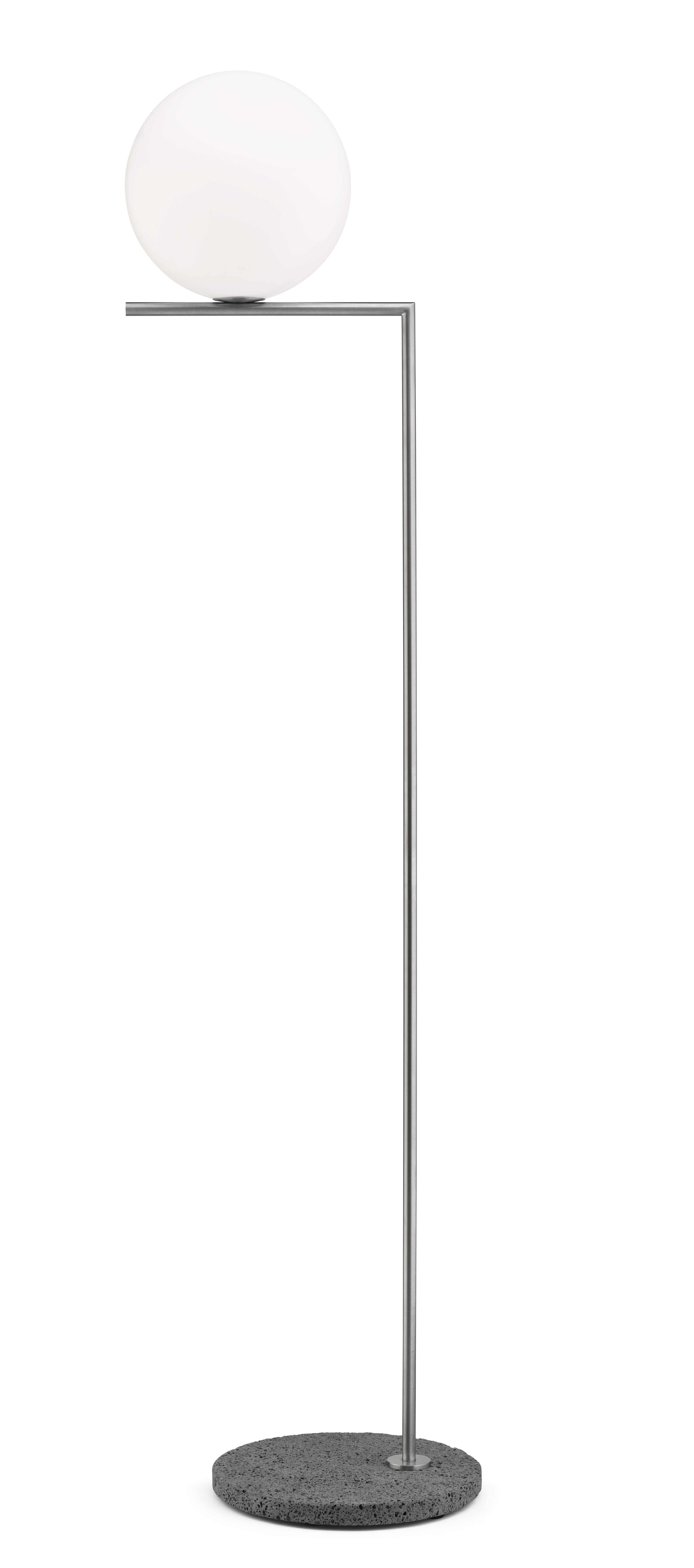 Luminaire - Lampadaires - Lampadaire IC F2 Outdoor / H 185 cm - Base pierre - Flos - Acier brossé / Pierre grise - Acier inoxydable, Pierre, Verre