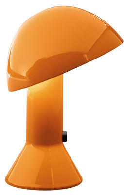 Lampe de table Elmetto / 1976 - Martinelli Luce orange en matière plastique