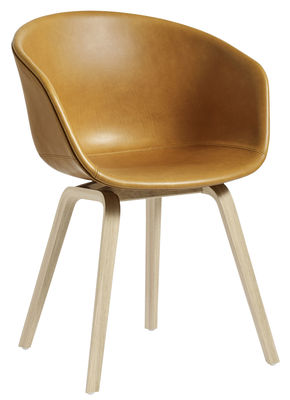 Furniture - Chairs - About a chair AAC23 Padded armchair - Integral leather / Wood legs by Hay - Cognac leather / Natural wood - Foam, Leather, Polypropylene