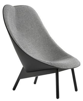 Furniture - Armchairs - Uchiwa Padded armchair - Leather backrest by Hay - Grey & black / Black feet - Foam, Kvadrat fabric, Leather, Tinted oak
