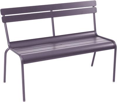 Life Style - Panca con schienale Luxembourg - 2/3 posti / Con schienale - L 118 cm di Fermob - Prugna - Alluminio laccato