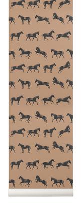 Déco - Stickers, papiers peints & posters - Papier peint Horse / 1 rouleau - Larg 53 cm - Ferm Living - Noir & marron - Toile intissée