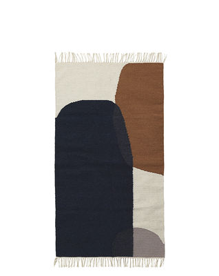 Decoration - Rugs - Kelim Merge Rug - / Small - 80 x 140 cm by Ferm Living - 80 x 140 cm / Blue & brown - Cotton, Wool