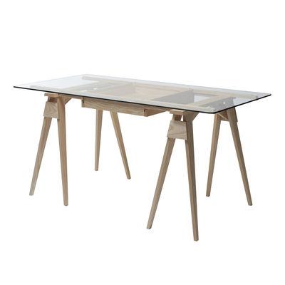 Arredamento - Mobili da ufficio - Scrivania Arco - / Vetro e Legno - 150 x 75 cm di Design House Stockholm - Rovere - Rovere massello, Vetro temprato