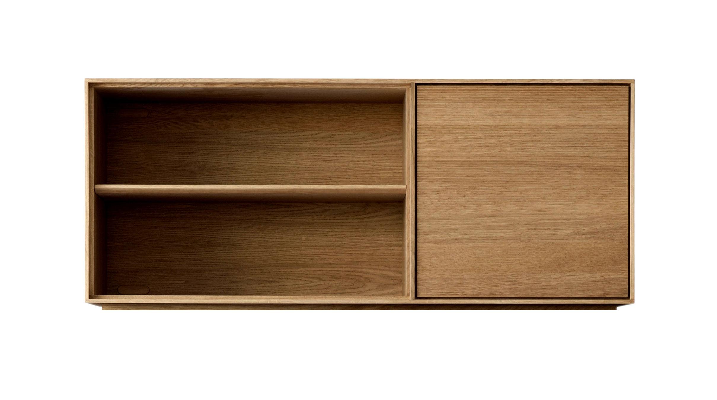 Möbel - Kommode und Anrichte - Modulo Stapelbare Regal-Module / Mittelelement - L 130 cm / Tür rechts + 2 Regalfächer - Ercol - Mittelelement / Eiche - massive Eiche