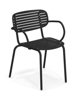 Mom Stapelbarer Sessel / Metall - Emu - Schwarz