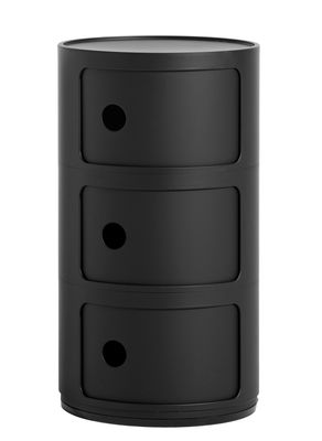 Furniture - Kids Furniture - Componibili Storage - / Matt version - 3 drawers - H 58 cm by Kartell - Matt black - Recycled thermoplastic technopolymer