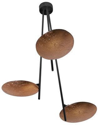 Luminaire - Suspensions - Suspension Lederam C3 / LED - H 53 cm - Catellani & Smith - Disques cuivre / Tiges noires / Rosace noire - Aluminium, Feuilles de cuivre, Métal peint