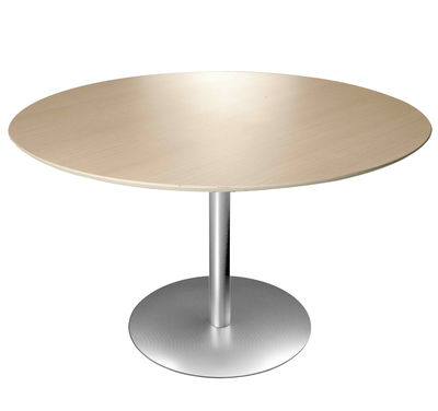 Table à hauteur réglable Brio / Ø 60 cm - Lapalma blanc/bois naturel en métal/bois