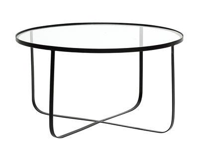 Table basse Harper / Ø 80 cm - Verre & métal - Bloomingville noir/transparent en métal/verre