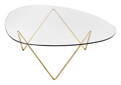 Table basse Pedrera / H 38 cm - Réédition 1955 - Gubi or/métal en métal/verre