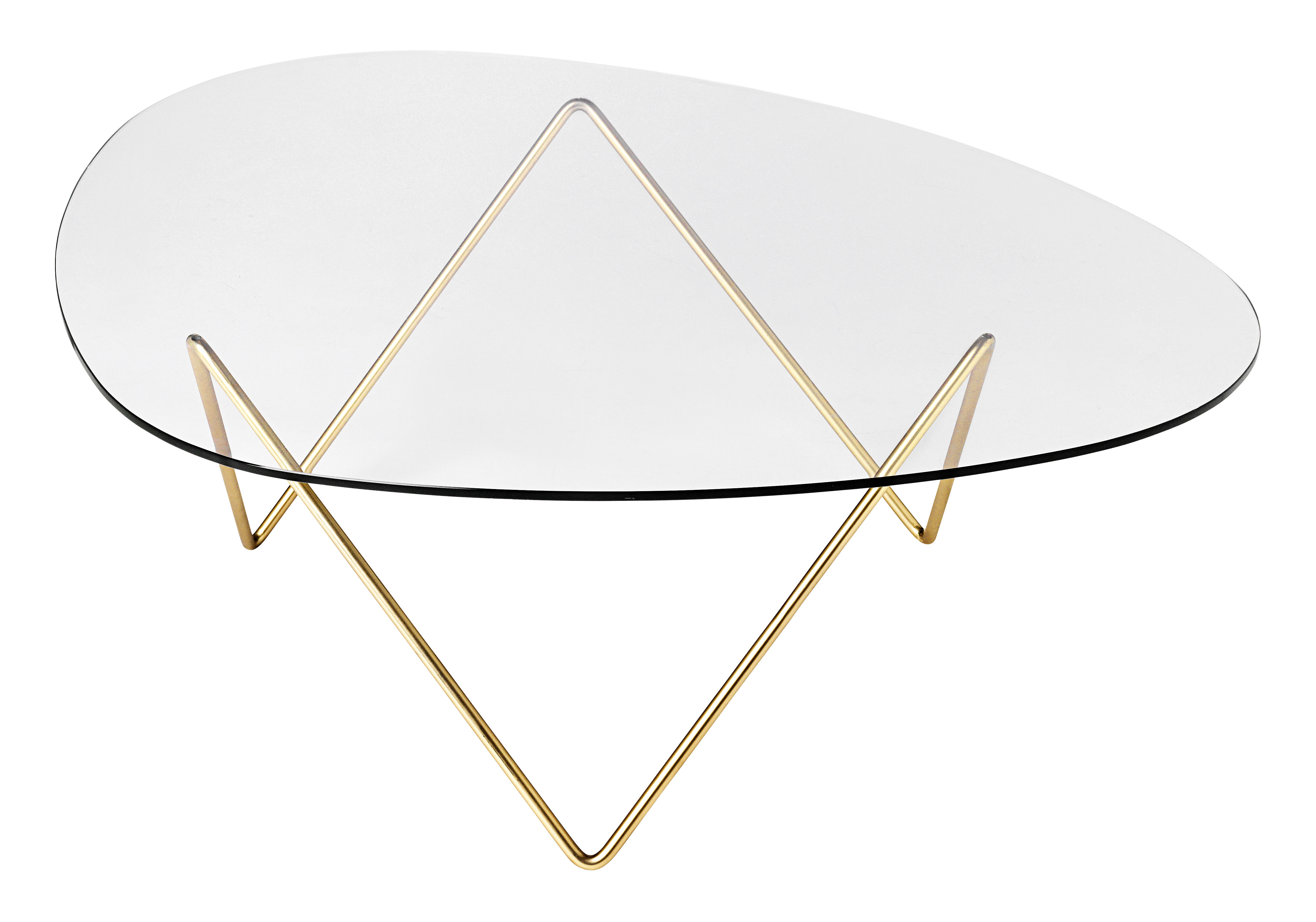 Mobilier - Tables basses - Table basse Pedrera / H 38 cm - Réédition 1955 - Gubi - Pied laiton / Plateau transparent - Acier plaqué laiton, Verre