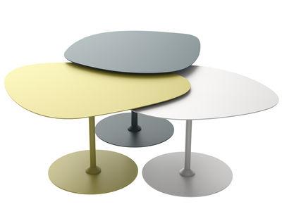 Tables gigognes 3 Galets Outdoor / Set de 3 - Matière Grise craie,bleu canard,vert mousse en métal