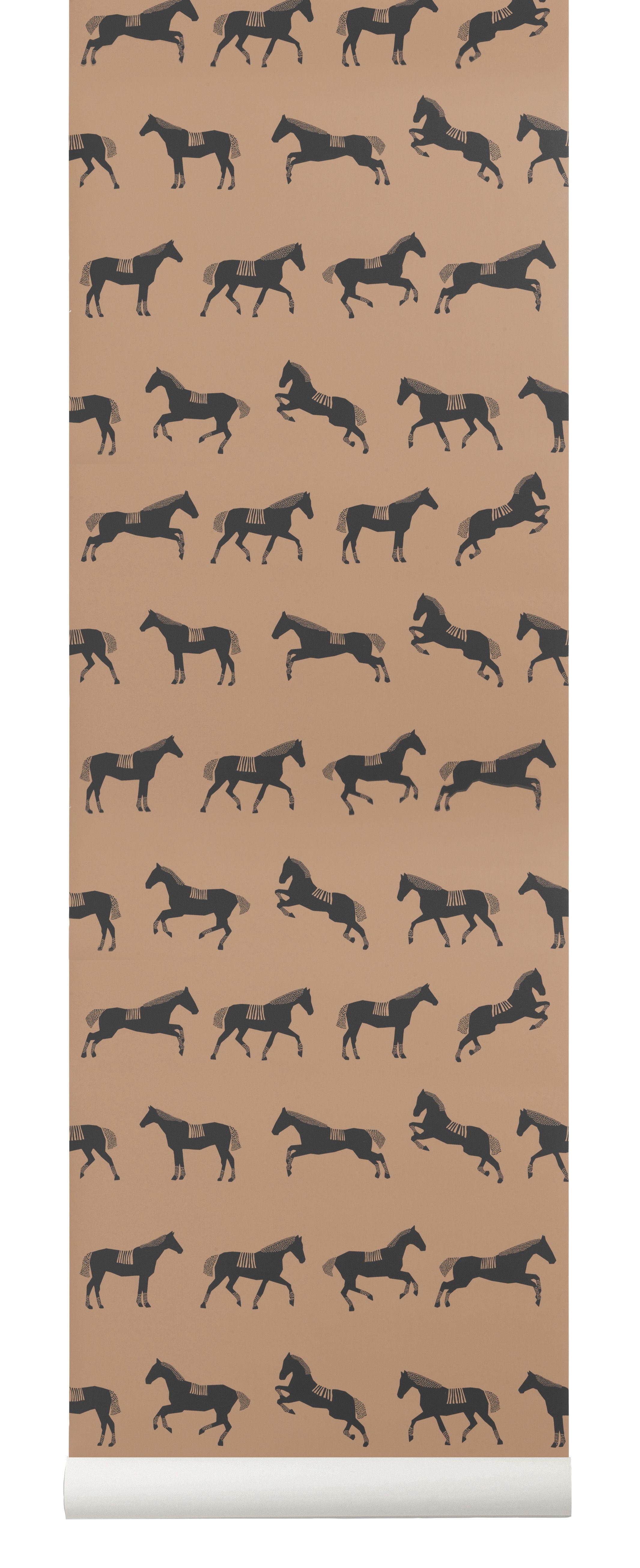 Dekoration - Stickers und Tapeten - Horse Tapete / 1 Bahn - B 53 cm - Ferm Living - Schwarz & braun - Vliestapete