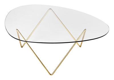 Arredamento - Tavolini  - Tavolino Pedrera - / H 38 cm - Riedizione 1955 di Gubi - Piede ottone / Piano trasparente - Acier plaqué laiton, Vetro