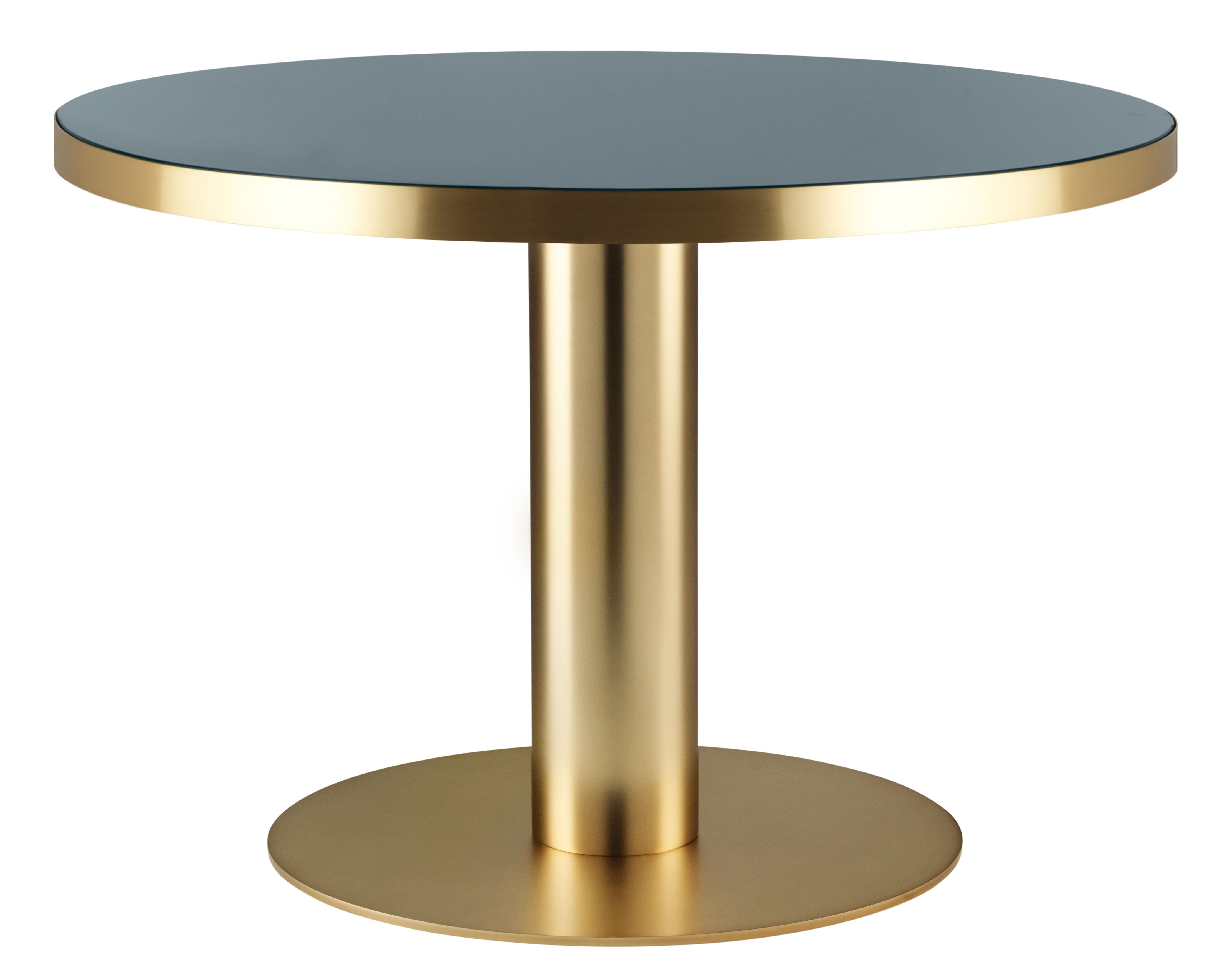 Scopri tavolo Ø cm piano vetro gambe ottone vetro