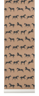 Decoration - Wallpaper & Wall Stickers - Horse Wallpaper - / 1 roll - Width 53 cm by Ferm Living - Black & brown - Non-woven fabric