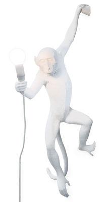 Leuchten - Wandleuchten - Monkey Hanging Wandleuchte mit Stromkabel / H 76,5 cm - Seletti - Weiß - Harz