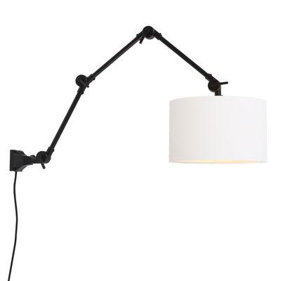Luminaire - Appliques - Applique avec prise Amsterdam Large / Abat-jour tissu - L 100 cm - It's about Romi - Noir / Abat-jour blanc - Fer, Tissu