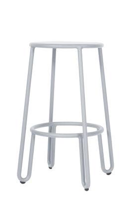 Furniture - Bar Stools - Huggy Bar stool - H 65 cm / Aluminium by Maiori - Frosty grey - Lacquered aluminium