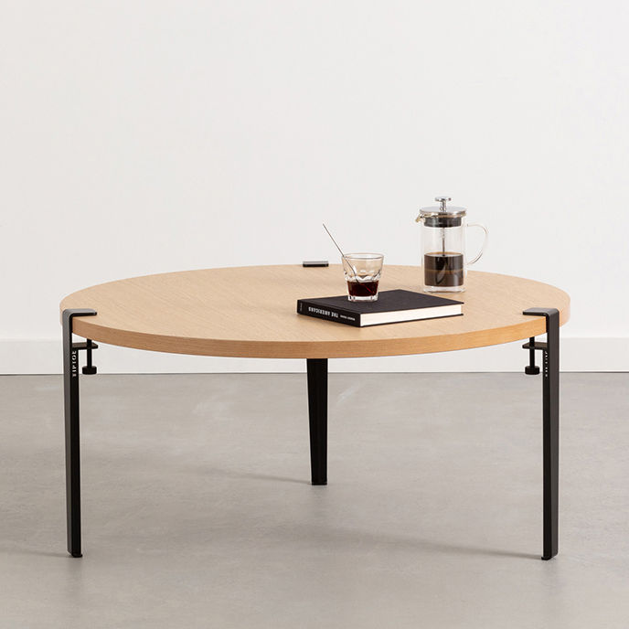 Furniture - Coffee Tables - Base leg with clamp system / H 43 cm - To create coffee tables and benches - TipToe - Graphit black - Powder coated steel