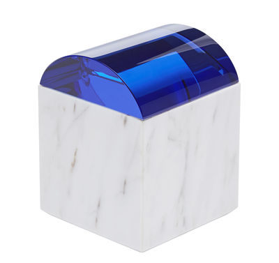 Accessoires - Accessoires salle de bains - Boîte Lid Curve / Marbre & verre - Tom Dixon - Marbre blanc / Bleu - Marbre, Verre