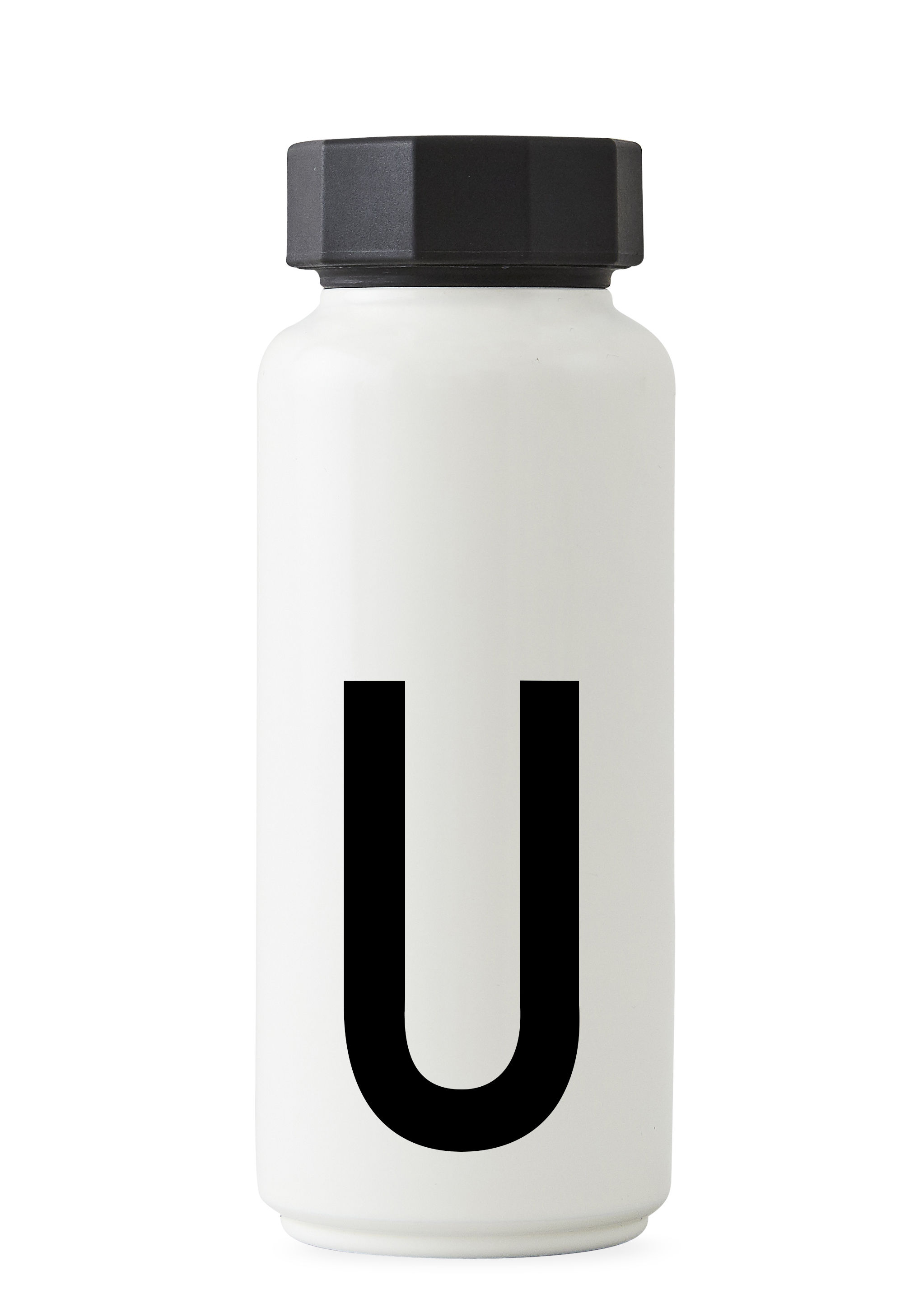 Arts de la table - Carafes et décanteurs - Bouteille isotherme Arne Jacobsen / 500 ml - Lettre U - Design Letters - Blanc / Lettre U - Acier inoxydable, Polypropylène