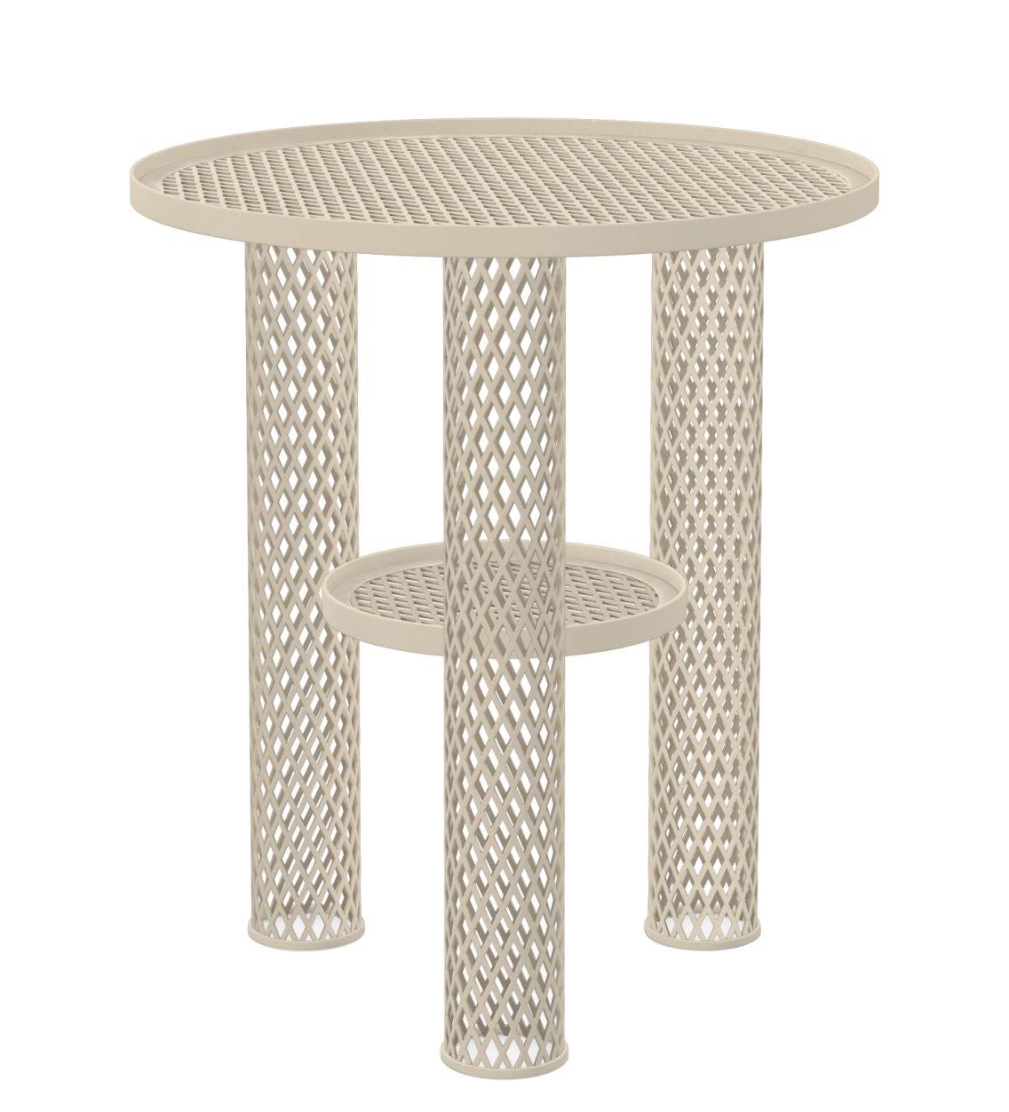 Furniture - Coffee Tables - Net Coffee table - Steel mesh / Ø 40 x H 46 cm by Moroso - Blanc - Varnished steel