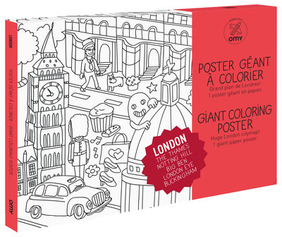 Decoration - Children's Home Accessories - Londres Colouring poster - / Giant - L 115 x 80 cm by OMY Design & Play - Black, White - Recycle paper