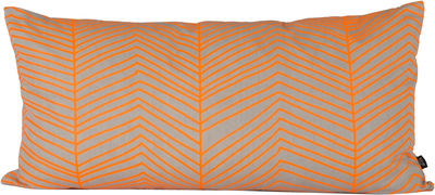 Déco - Coussins - Coussin Herringbone / Large 80x40 cm - Ferm Living - Orange, Gris - Coton