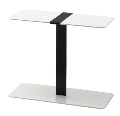 Furniture - Coffee Tables - Serra End table by Viccarbe - White / Black strap - Fabric, Lacquered MDF, Lacquered steel