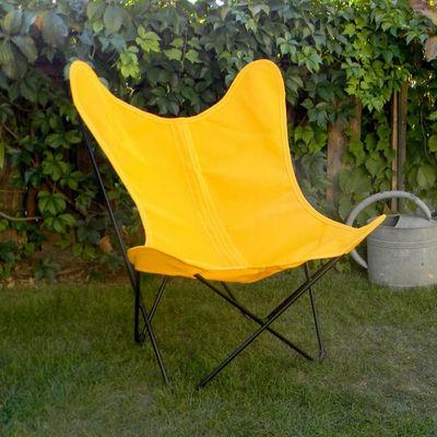 Mobilier - Fauteuils - Fauteuil AA Butterfly OUTDOOR / Batyline - Structure noire - AA-New Design - Jaune/ Métal noir - Acier thermolaqué, Toile Batyline