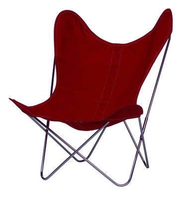 Chaise AA Butterfly toile / Structure chromée - AA-New Design cerise en tissu