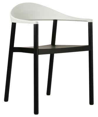 Fauteuil empilable Monza / Plastique & bois peint - Plank blanc,noir en matière plastique