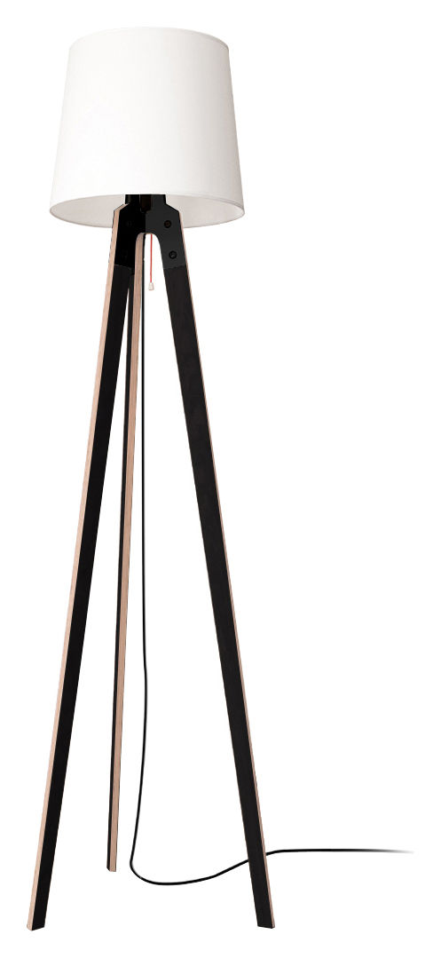 Lighting - Floor lamps - Stehleuchte n1 Floor lamp - H 178 cm by Artificial - Pop Corn - Black & white - Beechwood plywood, Fabric, Metal