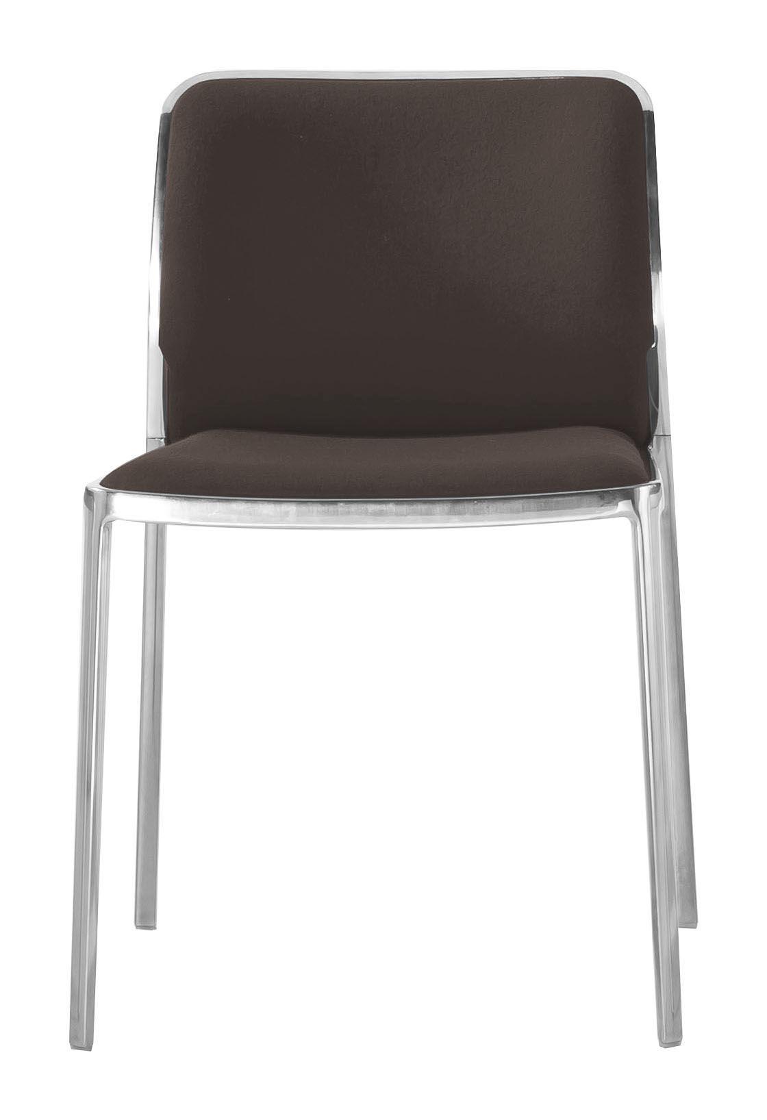 Möbel - Stühle  - Audrey Soft Gepolsterter Stuhl / Sitzfläche aus Stoff - Gestell Aluminium poliert - Kartell - Gestell: Aluminium poliert / Sitzfläche: Trevira-Stoff braun - Gewebe, poliertes Aluminium