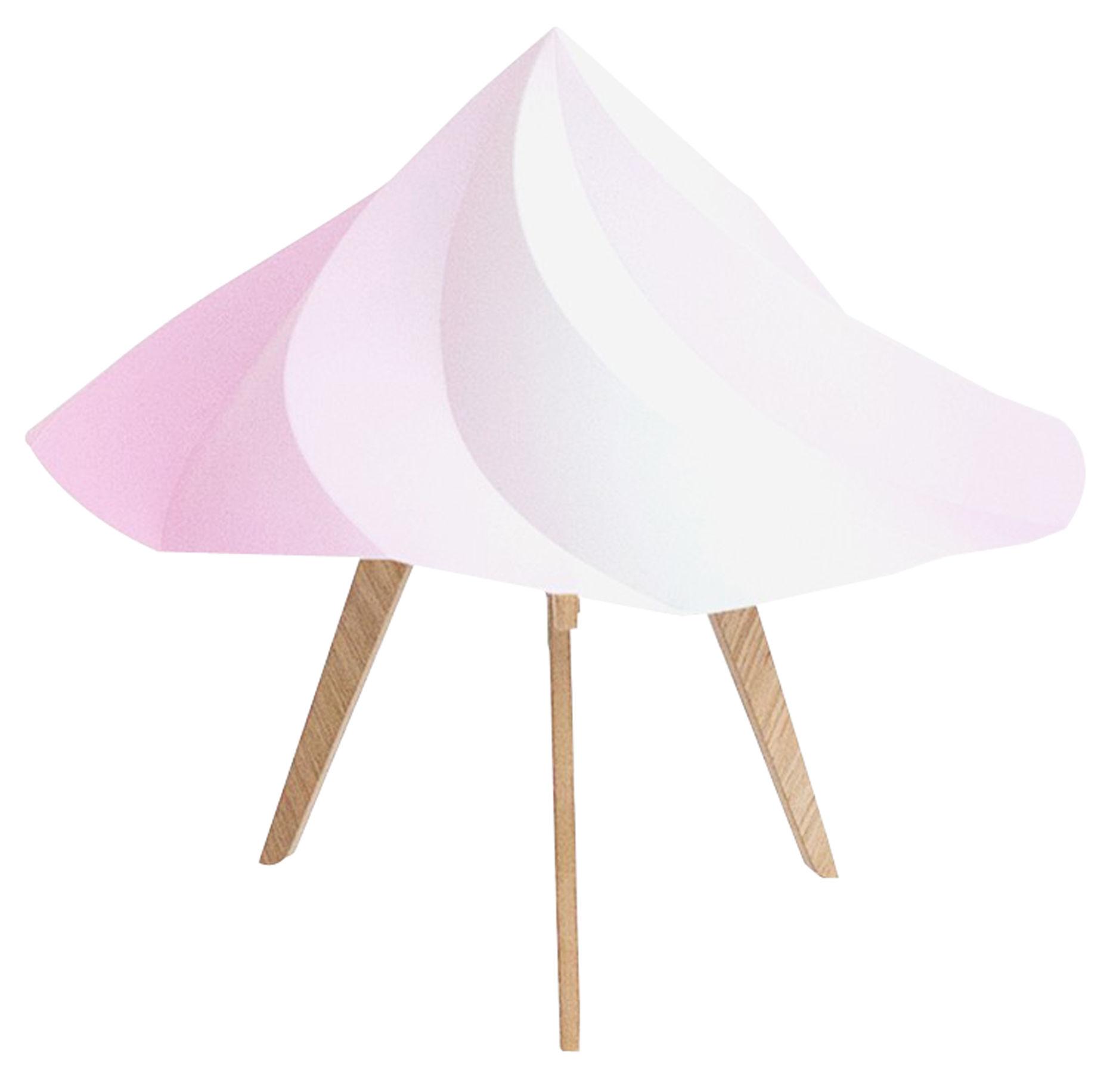 Illuminazione - Lampade da tavolo - Lampada da tavolo Chantilly Small / H 28 cm - Moustache - Rosa - Multistrato di rovere, Polipropilene riciclato