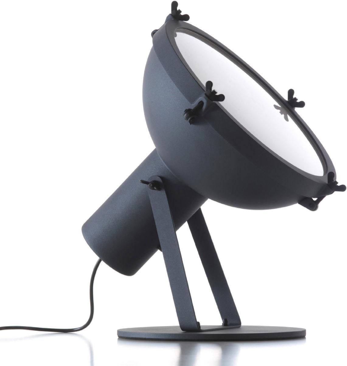 Illuminazione - Lampade da tavolo - Lampada da tavolo Projecteur 365 di Nemo - Esterno antracite - Interno bianco lucido - Alluminio, Vetro sabbiato