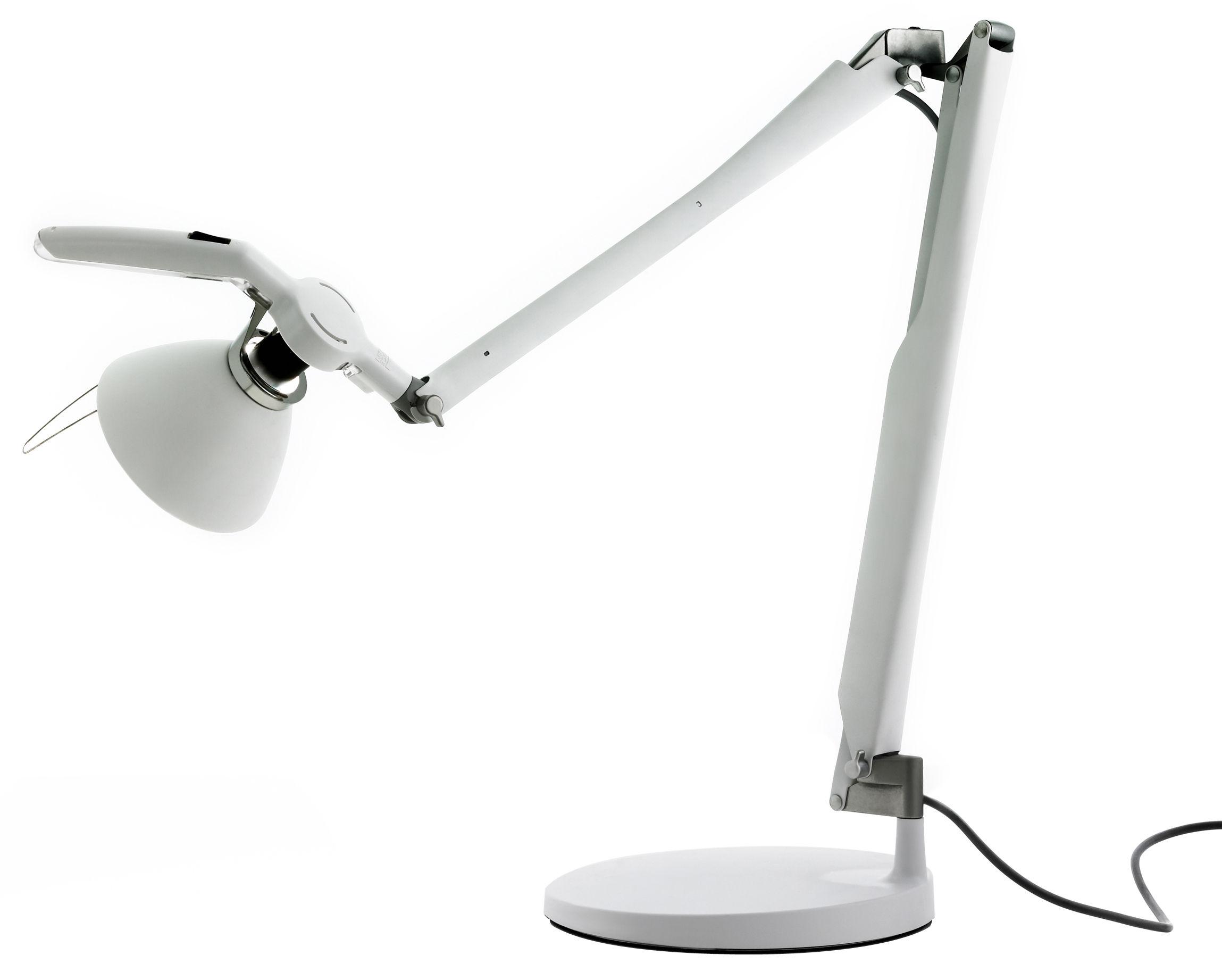 Luminaire - Lampes de table - Lampe de table Fortebraccio interrupteur - Luceplan - Blanc - Acier verni