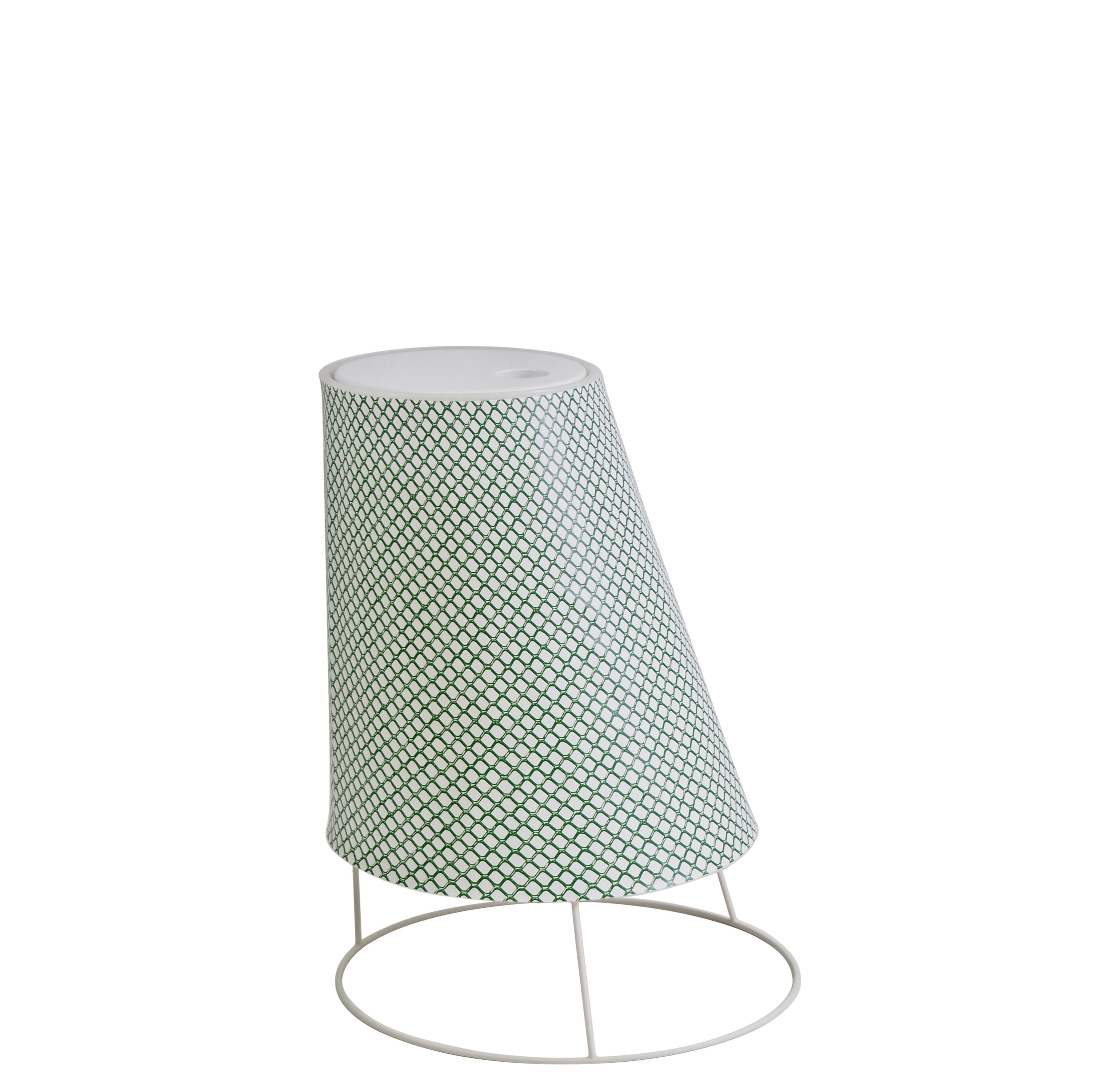 Leuchten - Tischleuchten - Cone LED Small Lampe ohne Kabel / H 22 cm - Emu - Grünes Gittermuster - Plastikmaterial, Polykarbonat, synthetisches Gewebe