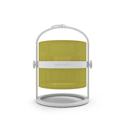 Lampe solaire La Lampe Petite LED / Hybride & connectée - Structure blanche - Maiori blanc/jaune en métal/tissu