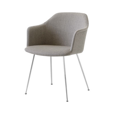 Furniture - Chairs - Rely HW35 Padded armchair - / Fabric by &tradition - Taupe (Re-Wool fabric) / Chromed legs - Fibreglass, Foam, Kvadrat fabric, Recycled polypropylene, Steel