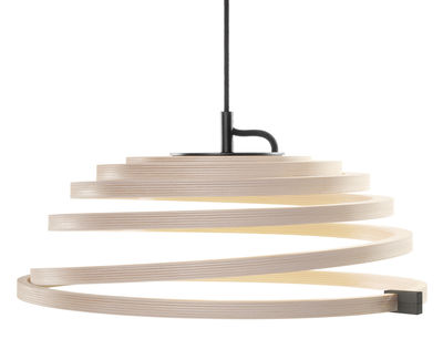 Lighting - Pendant Lighting - Aspiro Pendant - LED / Ø 50 cm by Secto Design - Natural birch / Black cable - Solid birch, Textile