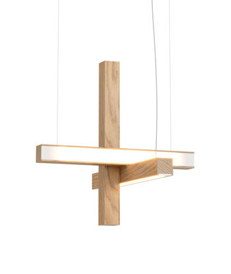 Led40 Cross Pendelleuchte / Holz - L 40 cm - Tunto - Eiche