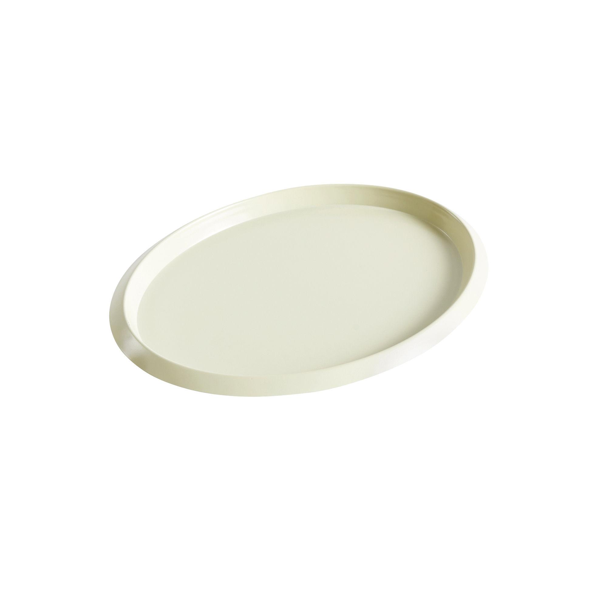 Tavola - Vassoi  - Piano/vassoio Ellipse Small - / 23 x 18 cm - Metallo di Hay - Giallo pallido - Acciaio verniciato