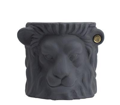 Pot de fleurs Lion Small / Indoor - H 21 cm - Garden Glory gris,laiton en céramique